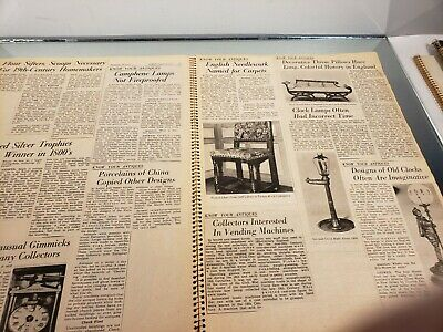 VINTAGE SCRAP BOOK Know Your Antiques/Refinishing /Collections/Newspaper clips 4 6