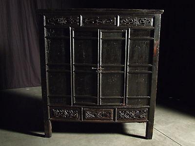 Beautiful Chinese Black Walnut Warrior Cabinet Antique 2