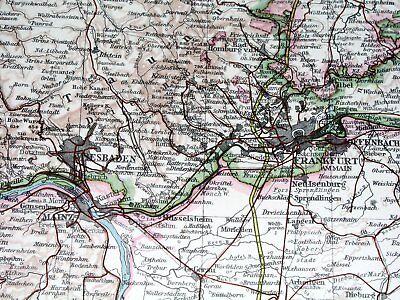 1937 Original Vintage Map Of Hessen Hesse Frankfurt Nassau Waldeck Germany 2