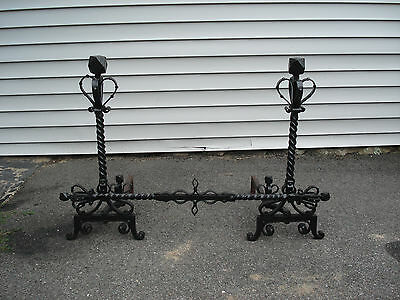 Large Antique Wrought Iron Andirons with Crossbar 2