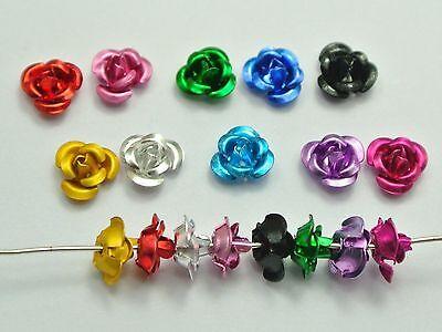 100 Stück Rosen Perlen Aluminium 6mm x 4mm Hochzeit Blumen 16 Farbe 4