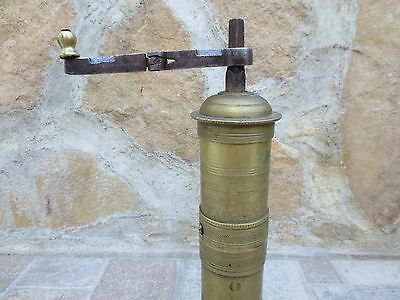 Primitive Antique Ottoman Brass-Carved TUGRA Marked Hand Coffee Grinder 19th #02 4