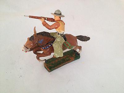 A189/  Hausser Elastolin Cowboy zu Pferd Wildwest Figur von ca. 1935/55 /TOP
