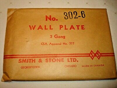 Vintage Smith & Stone Bakelite 3 Gang Brown Ribbed Combo Wall Plate Nos 302-6 4