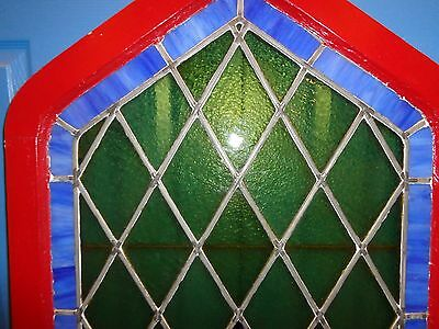 "STUNNING Vintage Arched Stained Glass Window, 5'  9-1/2"" Tall 3"