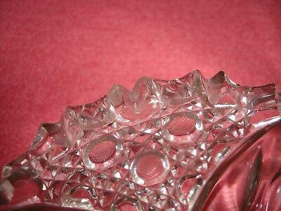 Vtg Flower Burst Abp Clear Cut Glass Nappy Dish Etched Flowers Sgl Loop Handle 10