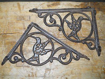 2 Cast Iron Antique Style HUMMINGBIRD Brackets, Garden Braces Shelf Bracket