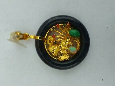 China  Jade with Various gemstones Pendant pair 玉坠 5