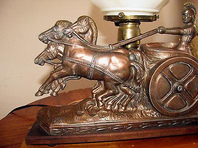 Vtg Art  Deco Frankart Era Egyptian Lamp Glass Shade Chandelier Light Fixture 2