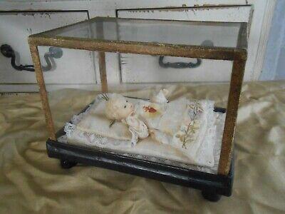 antik Jesus Wax doll Kind Fatschenkind Wachs Glas Schaukasten Klosterarbeit 11