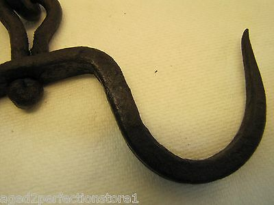 Antique Wrought Iron Double Hook Center Pivot Hanger blacksmith fireplace tool 12
