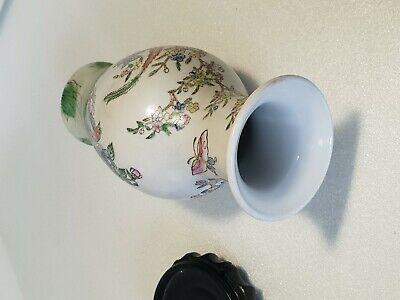 🔅 chine vase a décor oiseaux, papillons, floral à identifier 9