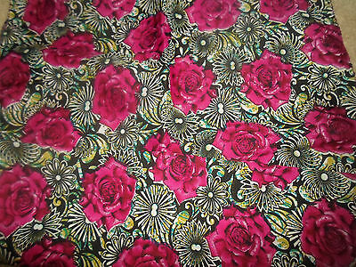 1 NEW Colourful Mixed Fibre Soft Ladies Scarf DEEP PINK ROSES Gift Idea #84