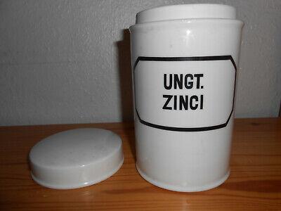 alte Salbendose Porzellan mit Deckel 60er Jahre 750 ml Apothekerdose UNGT. ZINCI 2
