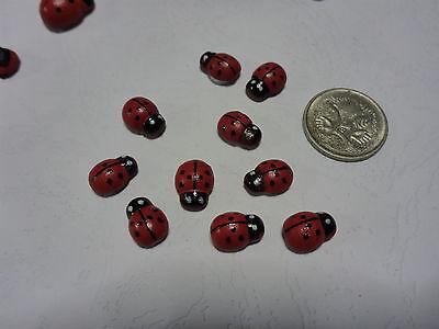 10 Wooden Multi-coloured Rainbow Ladybugs Flat Backs Scrap Booking Art Craft 6