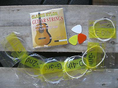 █░ 1 Satz Nylon-Gitarrensaiten Konzertgitarre-Sc10-Stärke 028-043 +3 Piks Gratis 2