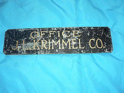 Antique Vintage Metal Office Name Plate J.L. Krimmel Co. 2