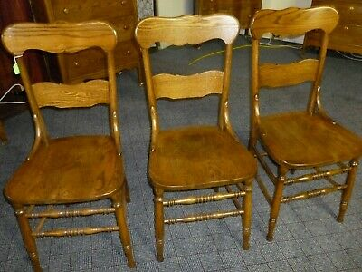 antique OAK chairs Set of 3 solid seat restored refinished 1900's 2