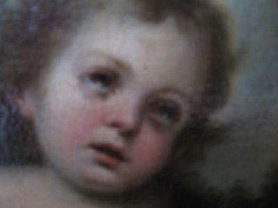 Murillo, Bartolome, Studio Of.antique Oil Christ, Lamb, Angels 8