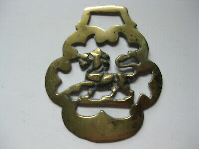 vintage brass medallion horse saddle bridle ornament harness lion England  N 4