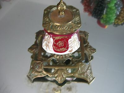Rare Antique 1800'S  French   Gilt Porcelain  Bronze Ink Well 7