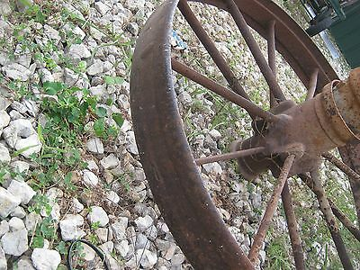"2 pcs Vintage Rustic Iron Farm Implement Wheel Farm decor 31"" diameter 4"" thick 6"