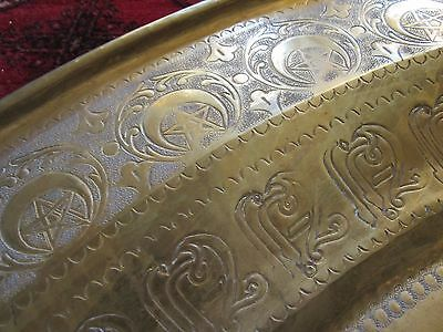 "Gorgeous Antique Persian Islamic Engraved Copper Tray 38"" / 97cm/ 14lbs 4"