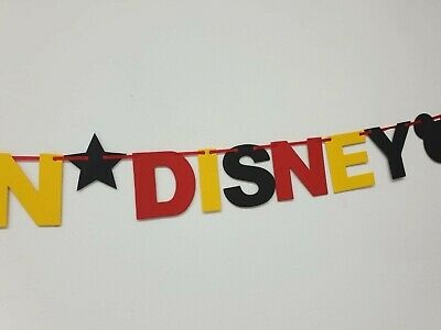 DISNEY REVEAL SURPRISE BANNER BLACK RED YELLOW Were off to Disneyland here we go 5