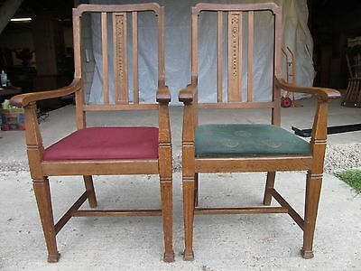 Pair of Edwardian Oak Arts & Crafts Open Carver Armchairs (429) 2