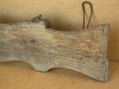 Old Antique Primitive Wooden Wood Rack Wall Hanger Door Hooks Shelf Marked 1934 7