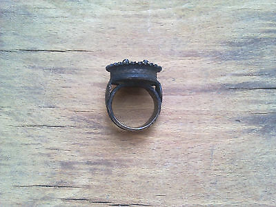 RARE ANCIENT LATE ROMAN/EARLY BYZANTINE BRONZE RING WITH CROSS - 16,5g