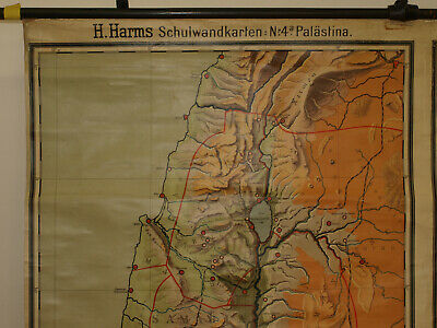Alte Schulwandkarte Wandkarte Palästina Biblische Länder 202x149cm vintage~1925 6