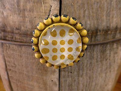 2 YELLOW SUNFLOWER GLASS DRAWER CABINET PULLS KNOBS VINTAGE chic child hardware 4