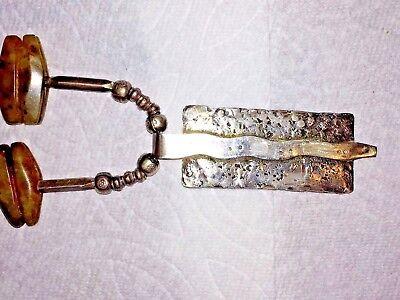 Antique Pre Columbian Jade & Silver Necklace Pendant Snag Design 9
