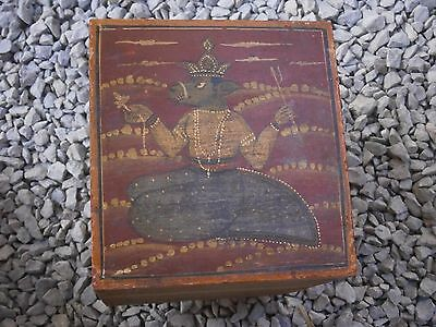 Antique Vintage Wooden Box Wiht Tree Drawers Beautiful Painting 5
