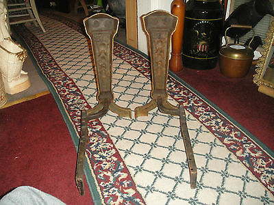 Antique Cast Iron Metal Medieval Gothic Andirons-Fireplace Inserts-Marked 25 3