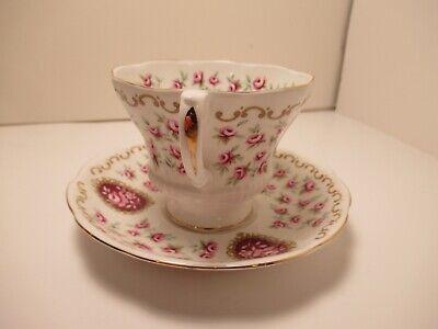 "Royal Albert English China Cup&Saucer ""Cameo Series Keepsake"" White & Pink 2"