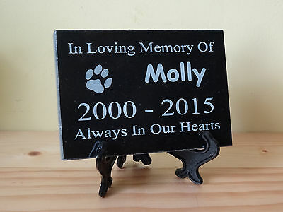Personalised Natural Granite Pet Dog Cat Memorial Plaque Grave Marker 15 x 10cm 2