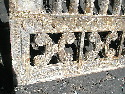 Antique Ornate Raised Relief Brass Gold Tone Metal Fireplace Surround Grate 7