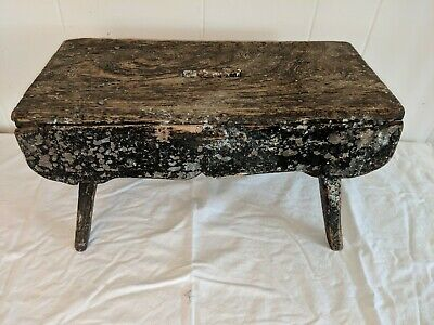 """ANTIQUE WOODEN MILKING STOOL LOTS OF PATINA 16"""" Long by 8"""" Wide by 9"""" Tall 2"""
