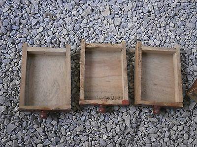 Antique Vintage Wooden Box Wiht Tree Drawers Beautiful Painting 10
