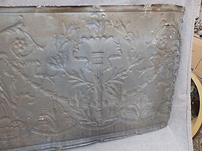 1 Salvaged Antique Tin Ceiling Decorative Pattern Old Vtg Torch Trim Edge 150-16 7