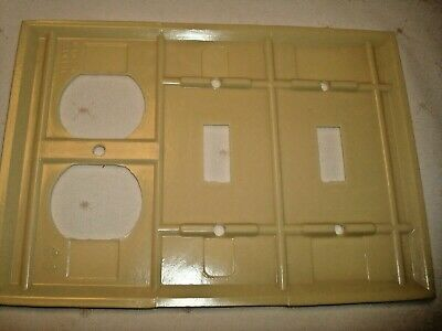 Vintage Smith & Stone Bakelite 3 Gang Ivory Ribbed Combo Wall Plate Nos 302-6 3