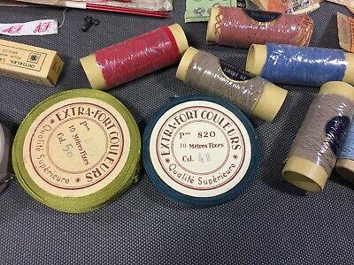Lot anciennes aiguilles à tricoter et fil de couture broderie mercerie vintage 3