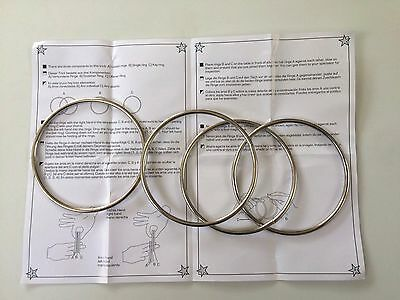H3E# 4pcs Magic Metal Rings Linking Iron Hoops for Fun Magic Trick Playing Props