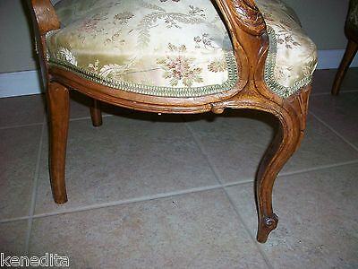 1900 Pair Antique French 2 Chairs Victorian Regency Parlor Fauteuil Louis XVII 9