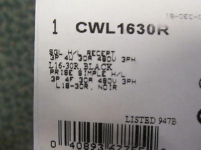 Cooper Receptacle CWL1630R 3P 4W 30A 480V 3Ph New Surplus