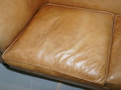 1 Of 2 Vintage Victorian Style Restored Brown Leather Club Sofas Coil Sprung 8