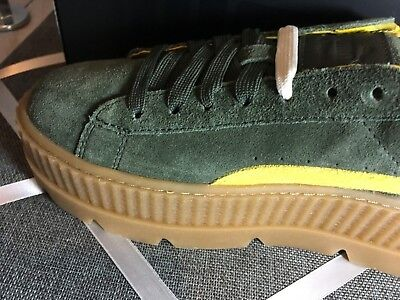 quality design 2780f 33e2a NIB PUMA FENTY by Rihanna CLEATED CREEPER SUEDE Women's Sneakers Green  Yellow
