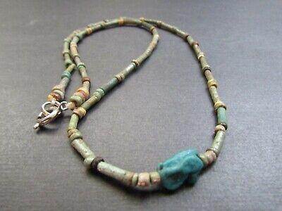 NILE  Ancient Egyptian Eye of Horus Amulet Mummy Bead Necklace ca 600 BC 2